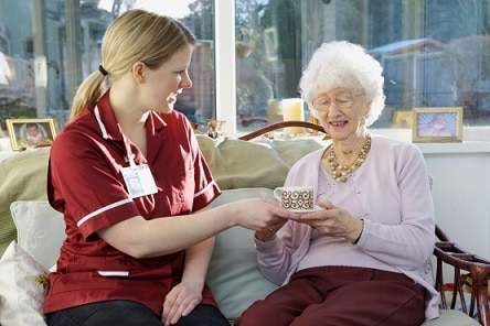 carer give her elderly pactient a nice cup of tea